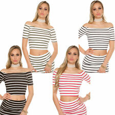 Short sleeve Ribbed Crop Top cropped Shirt Stripes Navy cropped Party S 32 34 36