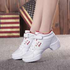 Women Comfy Genuine Leather Net Cloth Sneakers Heighten Square Dance Jazz Shoes