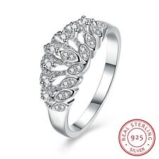 Women Crown Zircon Prong Setting Decor 925 Sterling Silver Ring Jewelry
