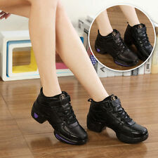 Women Modern Leather Athletic Sneakers Jazz Hip Hop Dance Shoes Lace Up Heighten