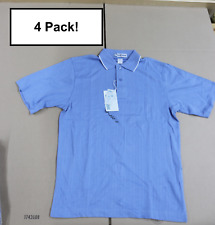 4-Pack Mens eDry Extreme Light Blue Ladies Button Polo Short Sleeve Work Shirt