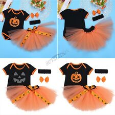 Infant Baby Girls Halloween Cosplay Pumpkin Romper Headband Outfit Fancy Clothes