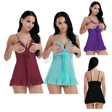 Women Mesh Lingerie Nightwear Sleepwear Open Bust Babydoll Mini Dress G-string