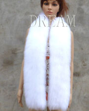 Denmark Genuine Real Fox Fur Knit Long Thick Scarf Cape White