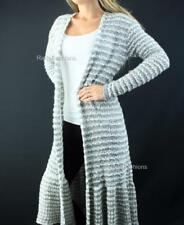 FREE PEOPLE Open Front Knit Long Cardigan Sweater Grey Combo NWT $168