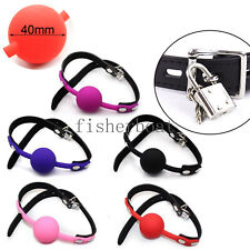 Solid Silicone Leather Strap Oral Harness 4CM Big Ball Mouth Gag Muzzle Loacking
