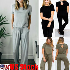Womens Short Sleeve Wide Leg Long Pants Trousers Ladies Romper Jumpsuit Playsuit