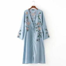 Women Floral Print Pattern V Neck Long Sleeve Casual Style Maxi Dress