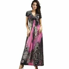 Fashionable Short Sleeve Printed V-neck Colorful Long Dress For Women