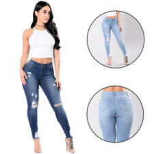 Denim Pants Ripped Knee High Waisted Stretch Womens Jeans  Skinny Fit
