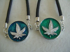 SILVER CANNABIS LEAF WITH COLOURED BACKGROUND BRACELET