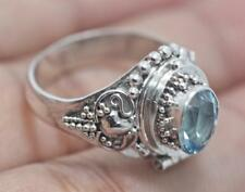 Handmade Sterling Silver .925 Bali Poison/Pill Box Ring. Choose Gem and Size