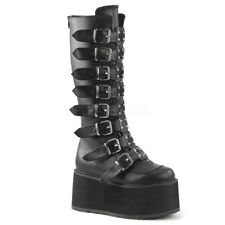 DAMNED-318, 3 1/2'' Platform Buckled Strap Knee Boot by PleaserUSA