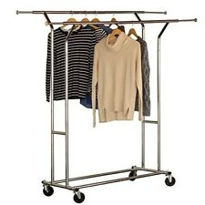 Rolling Clothes Rack Closet Storage Double Rail Wheels Garment Holder Organize