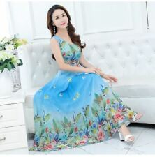 Women Light Blue Color Printed Chiffon Fabric Short Sleeve Beach Wear Dress