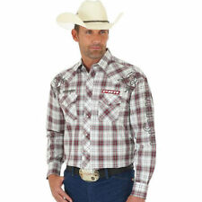 MHS198M Wrangler PBR LOGO Professional Bull Riders Rodeo PLAID Western  Shirt