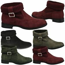 Valera Womens Flats Low Heels Ankle Boots Ladies Knitted Sock Fold Down Size New