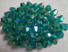 free shipping Wholesale! Lot 4-6-8mm Hole green AB crystal 5301# Bicone Beads
