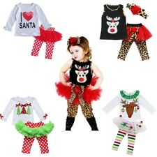 Toddler Kids Baby Girls Christmas Xmas Clothes Tops +Tutu Pants Outfits Set 2PCS