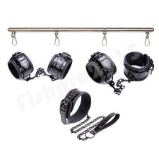 Bed Restraint Wrist Ankle Cuffs Collar Set Open-Leg Spreader Bar Couple Game Toy