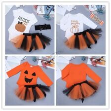 Infant Baby Girls Halloween Cosplay Pumpkin Outfits Romper with Tutu Skirt 0-2Y