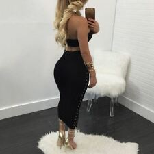 Women New Fashion 2 Piece Black Color Strapless Lace Up Hollow Out Dress