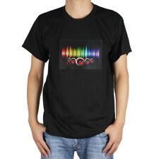 Sound-activated LED Light Music T-Shirt with Detachable EL Panel for Party / DJ