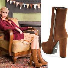 sz 39.5 40 NEW $1195 GUCCI Claudie Brown Suede Leather PLATFORM Ankle BOOTS NIB
