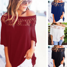 Womens 3/4 Sleeve One Shoulder Tops Fashion Loose Hollow Cut Out Blouse T Shirt