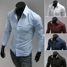 Mens Stylish Luxury Casual Slim Fit Tops Shirts Long Sleeve Dress Shirts 0029R