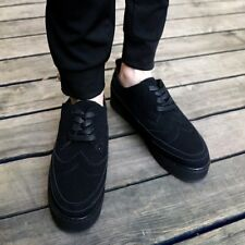 New Mens Casual Lace Up Carved British Platform Creeper Dress Board Shoes Black