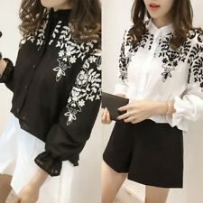 Women Fashion Embroidery Stand Collar Floral Loose Blouse Shirt Tops Summer