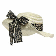 OCTAVE® Ladies Sequin Straw Hat With Turn Up Leopard Print Ribbon Bow