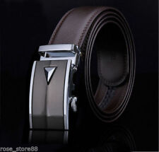Men's Casual Genuine Leather Hollow Automatic Buckle Waist Strap Belts Waistband