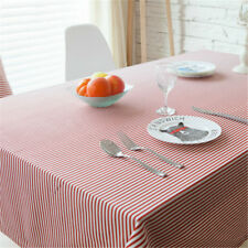 Cotton Linen Table Cloth Pastoral Red Stripe Tablecloth Table Cover Home Decor