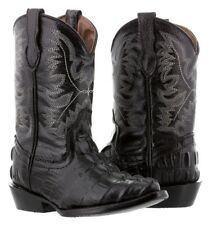 boys toddler little kids black crocodile tail western leather cowboy boots rodeo