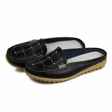 Women New Summer Solid Color Metal Decoration Flat Slipper Size 35-40