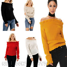 Womens New Ladies Frill Bardot Off Shoulder Long Sleeve Knitted Jumper TopUK8-14