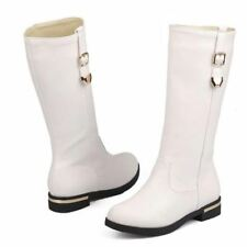 Women Autumn Winter Half Knee Flat White Color Buckle New Fashion Boots