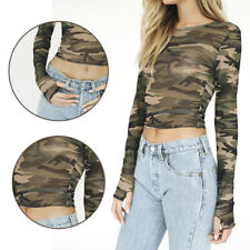 T-Shirt Camouflage Tops Sheer Mesh Long Sleeve Ladies New See-through