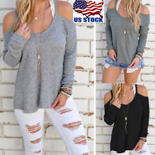 Women Cut Out Off Shoulder Strapless Tops Long Sleeve Blouse Shirt Loose Sweater