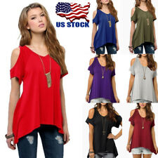 Womens Cold Shoulder Short Sleeve Hi-Lo Tunic Top Casual Loose Blouse T-Shirt US