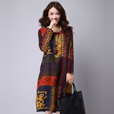 Summer Loose Plus Size Print Casual Long Sleeve Women Cotton Vintage Dress