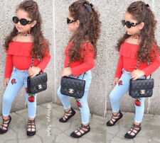 2pcs Toddler Kids Girls Red Long Sleeve Tops+Pants Trousers Fashion Set Outfits