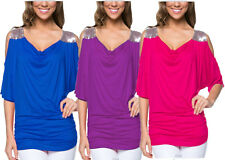 Womens Summer Cold Shoulder Tops Plus Size Loose Short Sleeve Blouse T-shirt Tee