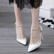 Women Pointed Fashion Cover Heel Buckle High Heel Sandal Size 34-40