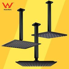 "WELS Matt Black 10"" Square Rainfall Shower Head 300MM Ceiling Arm Dropper Set"
