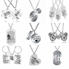 Dog Tag Pendant Best Friend Sister Mother Father Gift Heart Chain Necklace Charm