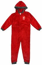 Boys Official Liverpool Football L.F.C Club Hooded Onezie Zip Romper 3-12 Years