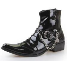 Mens Chain Western Cowboy Nightclub high top Buckle Pointy Toe Ankle Boots Shoes